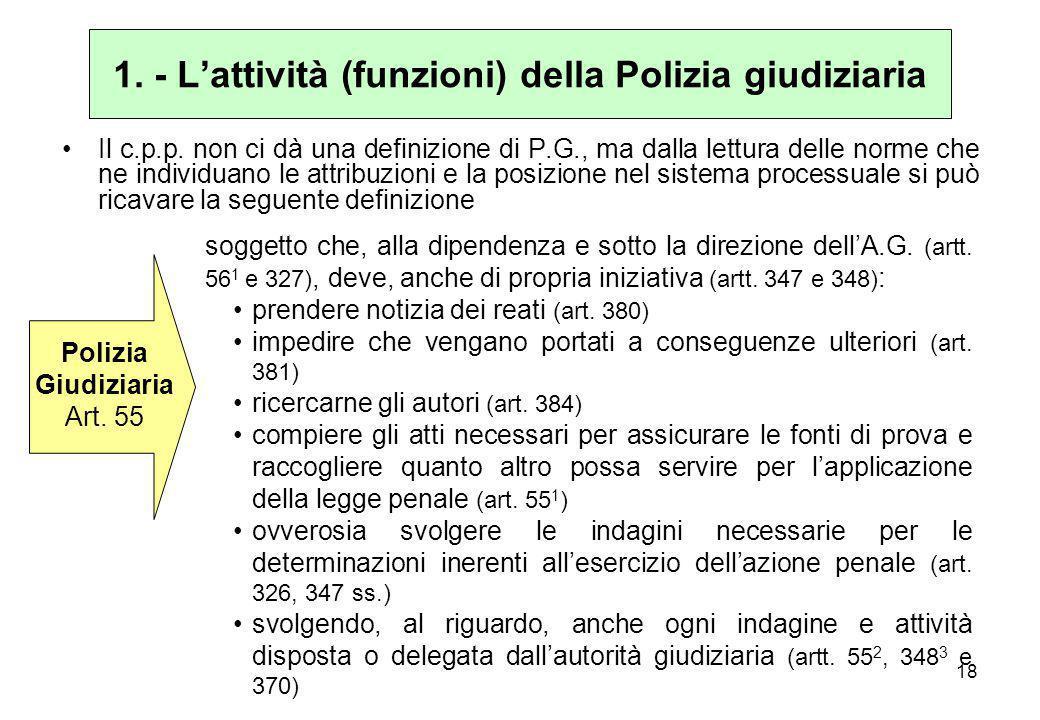 1. - L'attività (funzioni) della Polizia giudiziaria