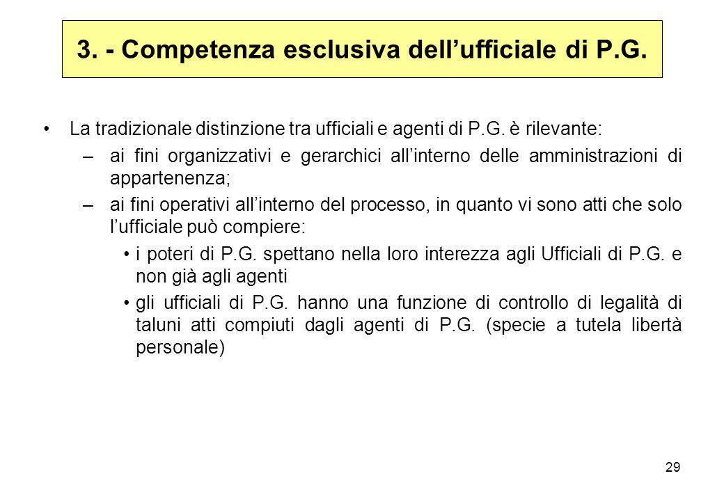 3. - Competenza esclusiva dell'ufficiale di P.G.