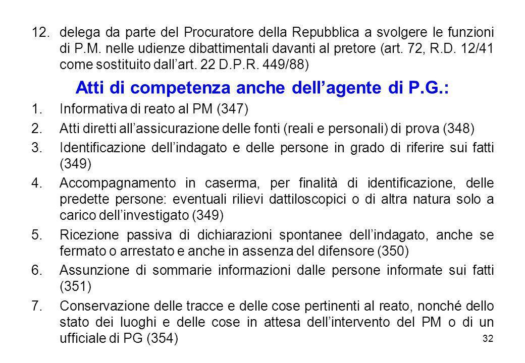 Atti di competenza anche dell'agente di P.G.: