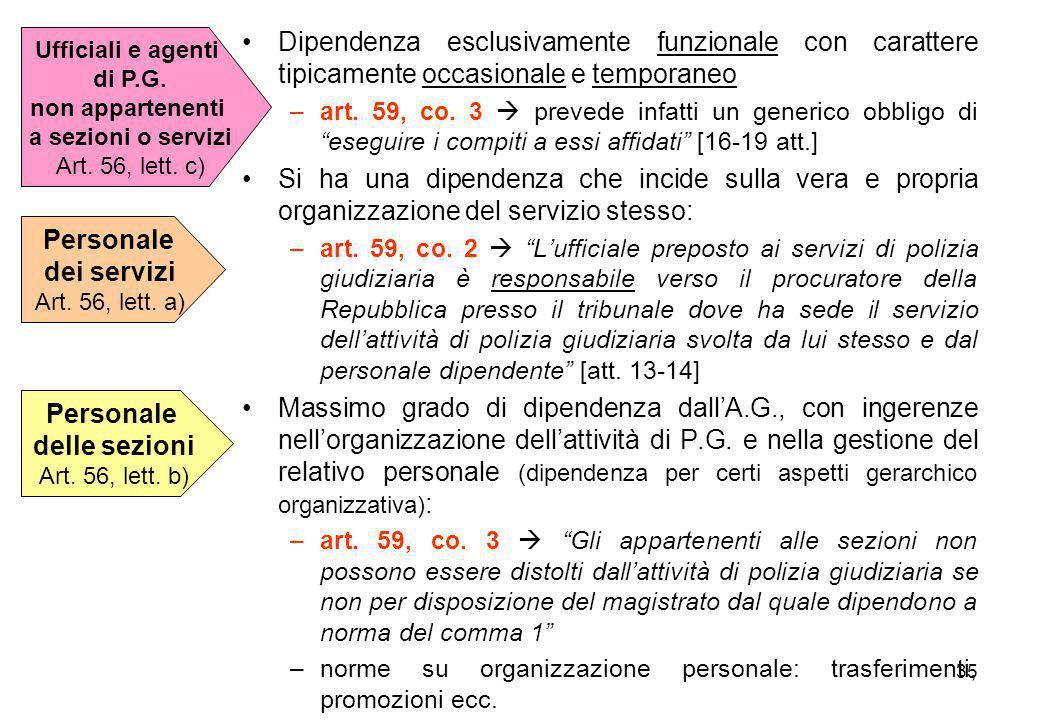 Personale dei servizi Personale delle sezioni