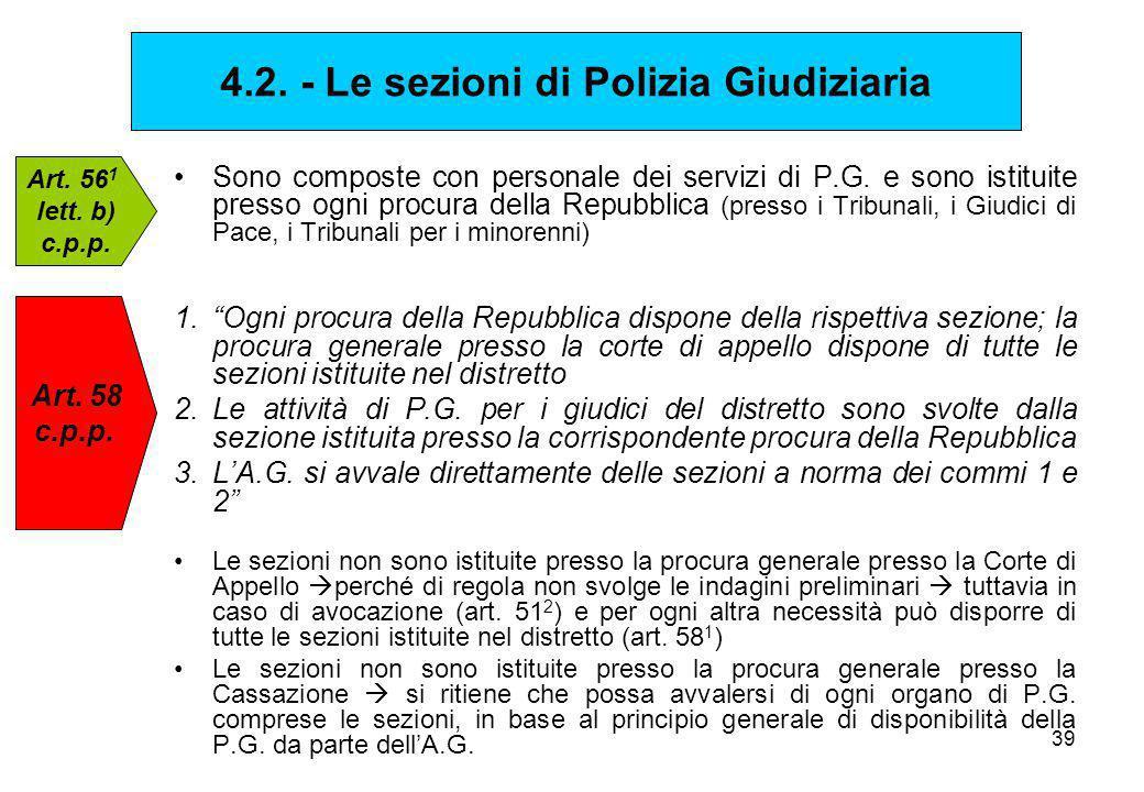 4.2. - Le sezioni di Polizia Giudiziaria
