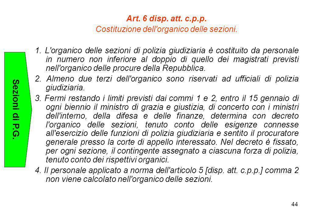 Costituzione dell organico delle sezioni.