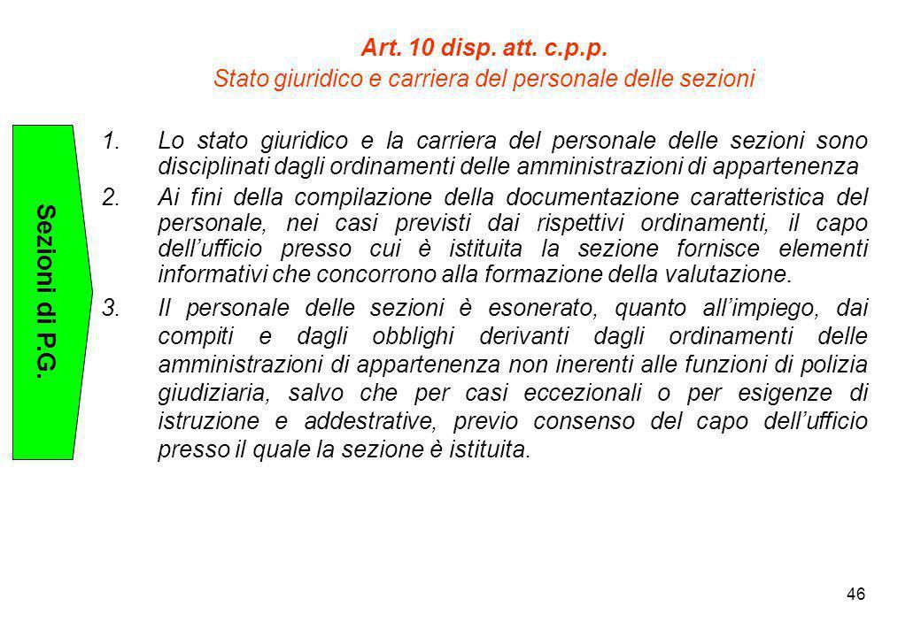 Stato giuridico e carriera del personale delle sezioni