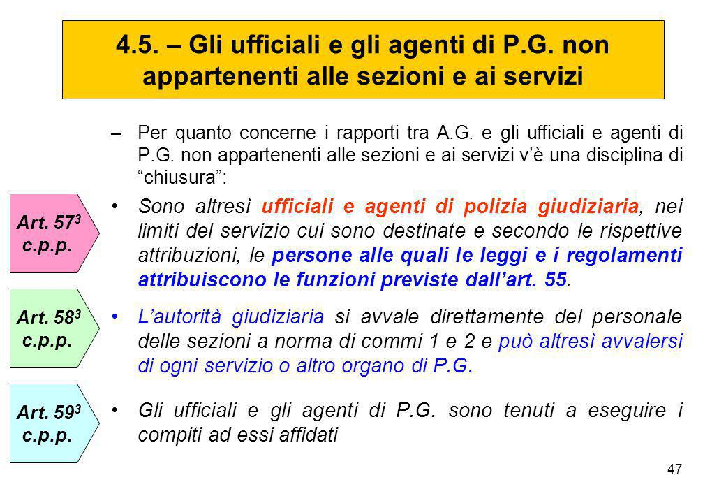 4. 5. – Gli ufficiali e gli agenti di P. G