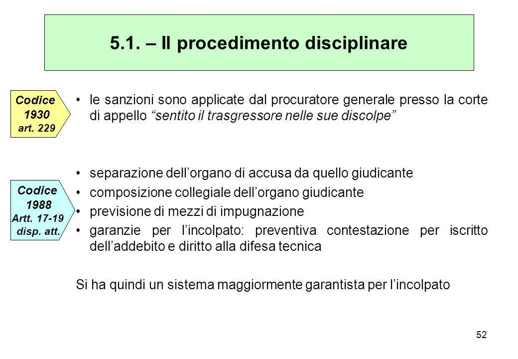 5.1. – Il procedimento disciplinare