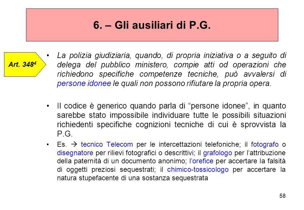 6. – Gli ausiliari di P.G.
