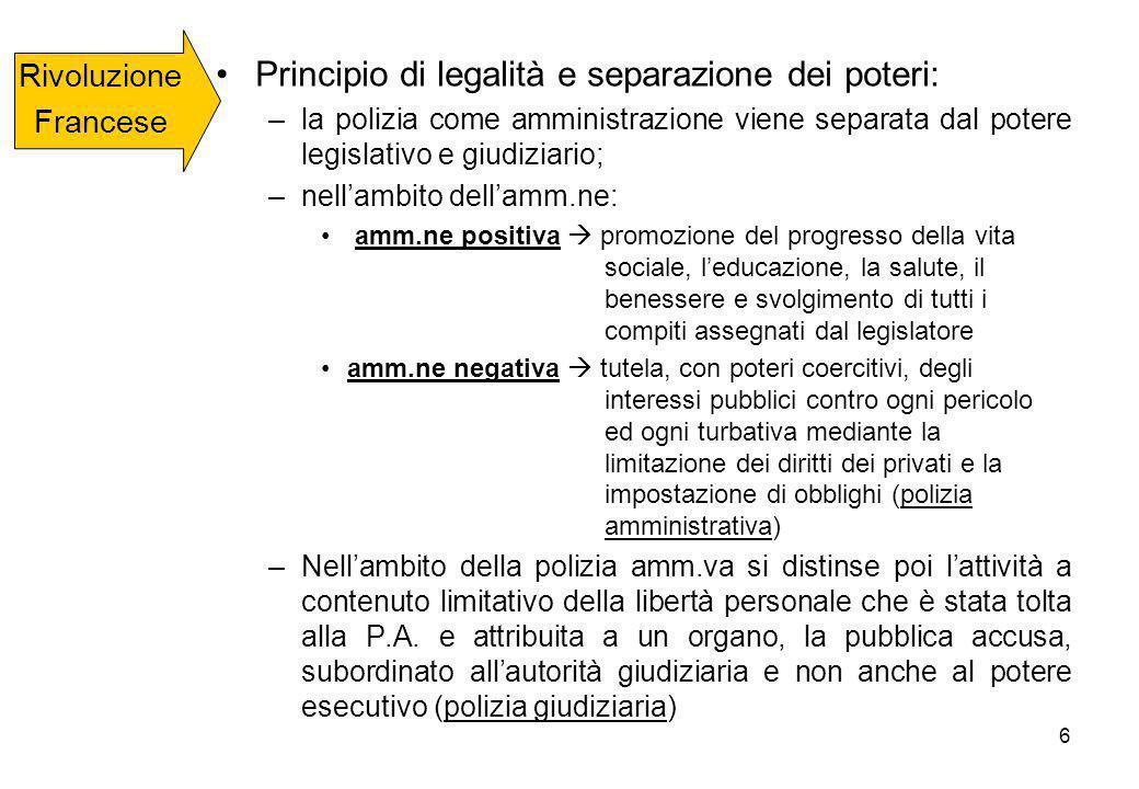 Principio di legalità e separazione dei poteri: