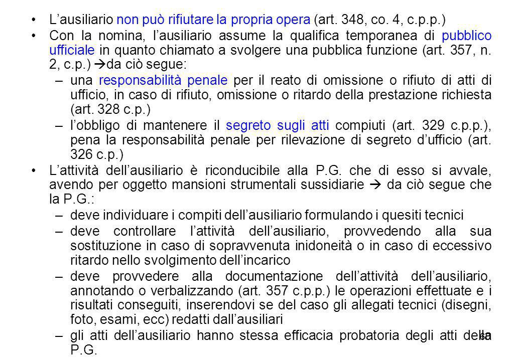 L'ausiliario non può rifiutare la propria opera (art. 348, co. 4, c. p