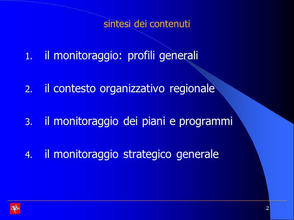 il monitoraggio: profili generali il contesto organizzativo regionale