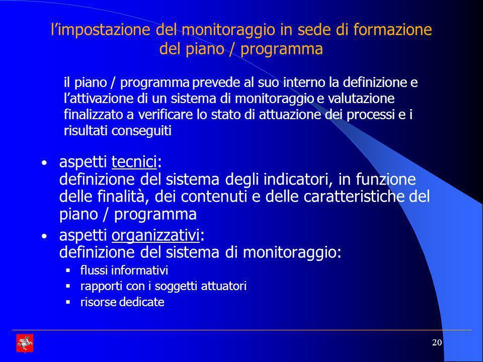 aspetti organizzativi: definizione del sistema di monitoraggio: