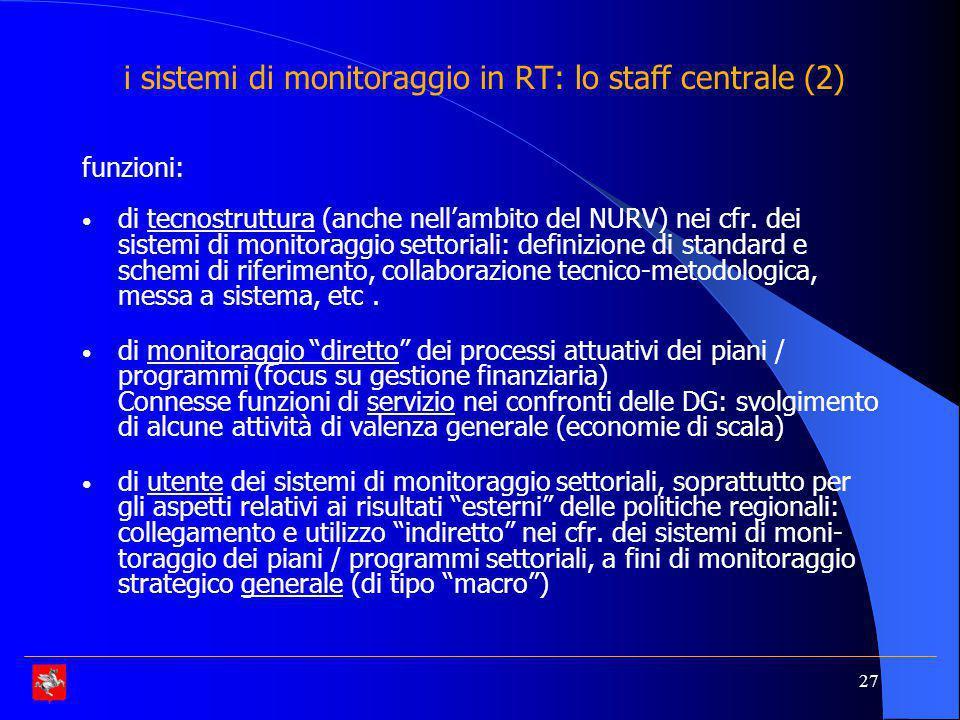 i sistemi di monitoraggio in RT: lo staff centrale (2)