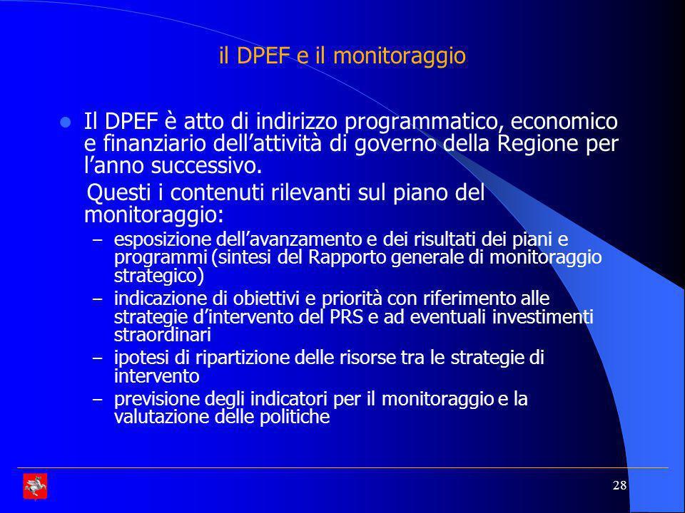 il DPEF e il monitoraggio