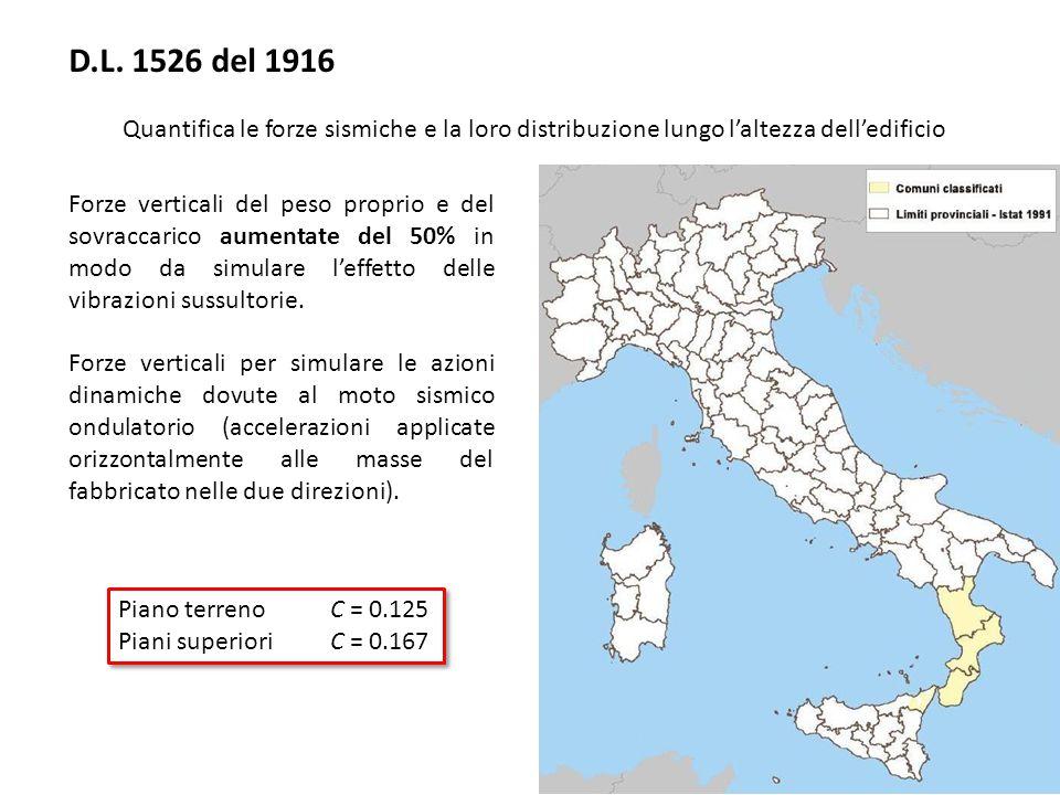 D.L. 1526 del 1916 Quantifica le forze sismiche e la loro distribuzione lungo l'altezza dell'edificio.