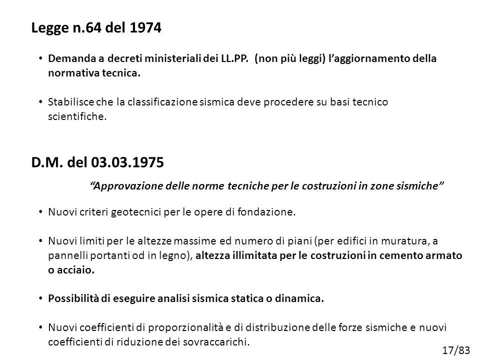 Legge n.64 del 1974 Demanda a decreti ministeriali dei LL.PP. (non più leggi) l'aggiornamento della normativa tecnica.