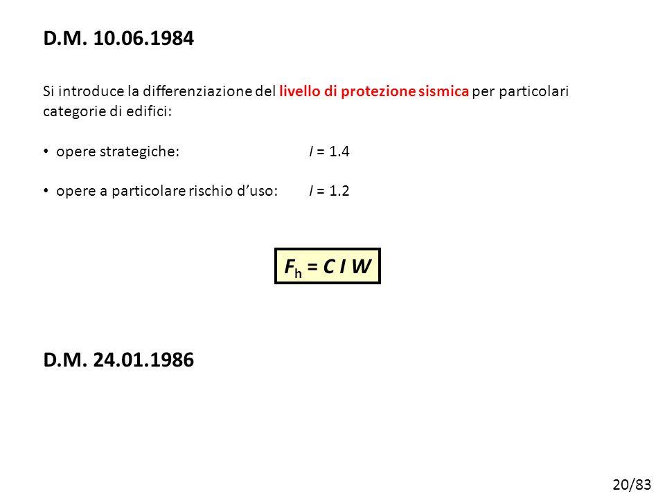 D.M. 10.06.1984 Si introduce la differenziazione del livello di protezione sismica per particolari categorie di edifici: