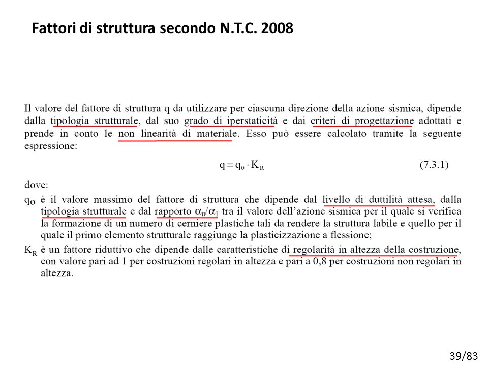 Fattori di struttura secondo N.T.C. 2008