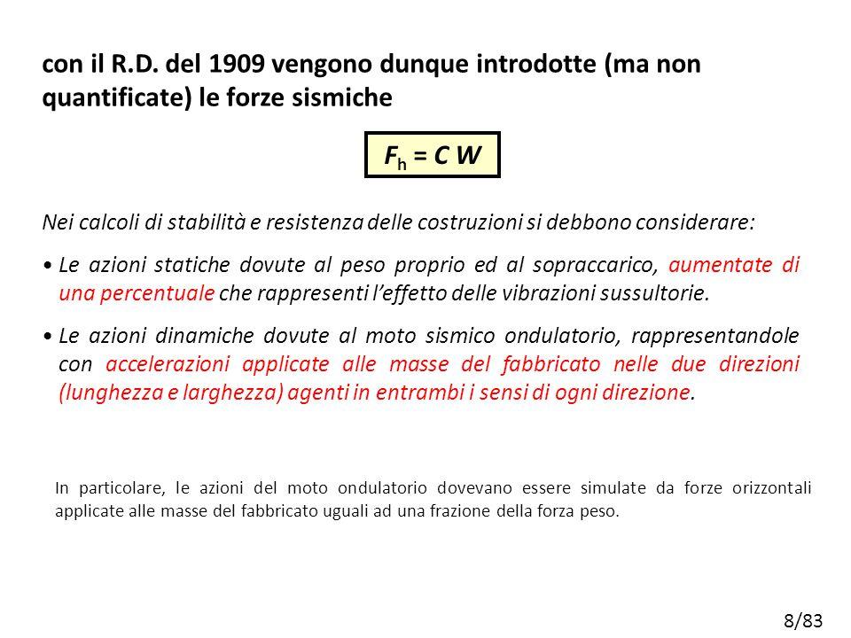 con il R.D. del 1909 vengono dunque introdotte (ma non quantificate) le forze sismiche