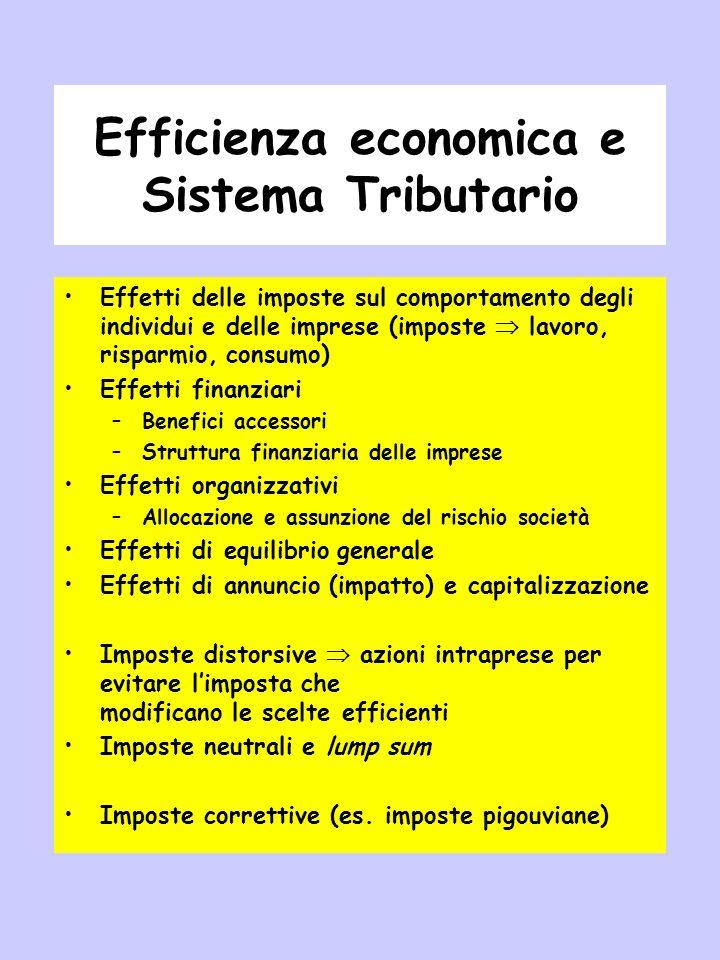 Efficienza economica e Sistema Tributario