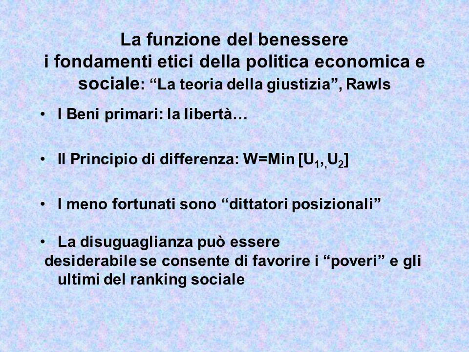 La funzione del benessere i fondamenti etici della politica economica e sociale: La teoria della giustizia , Rawls
