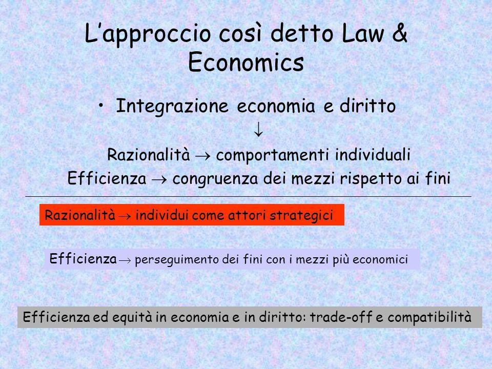 L'approccio così detto Law & Economics