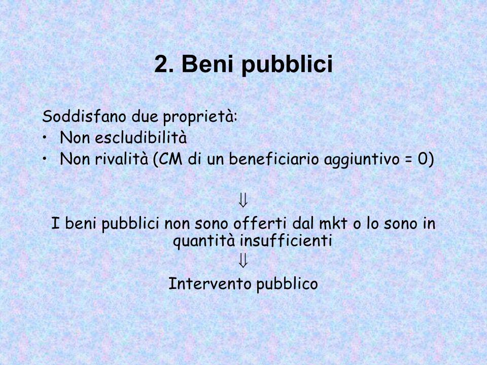 2. Beni pubblici Soddisfano due proprietà: Non escludibilità