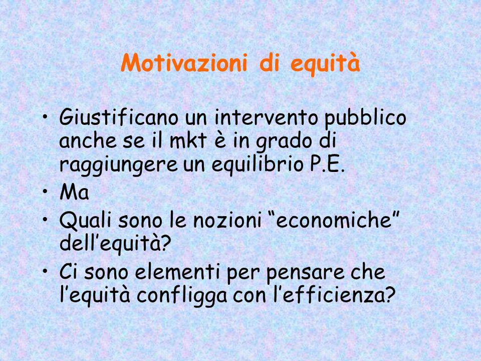 Motivazioni di equità Giustificano un intervento pubblico anche se il mkt è in grado di raggiungere un equilibrio P.E.