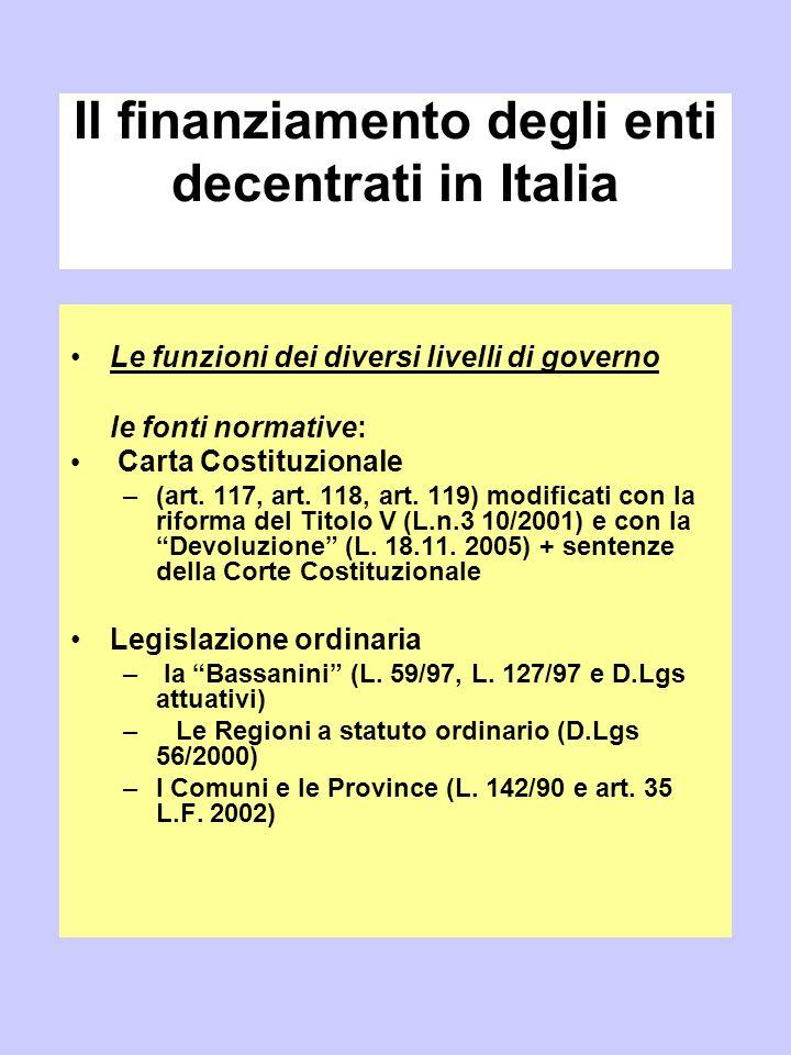 Il finanziamento degli enti decentrati in Italia