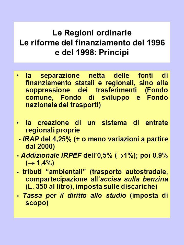 Le Regioni ordinarie Le riforme del finanziamento del 1996 e del 1998: Principi