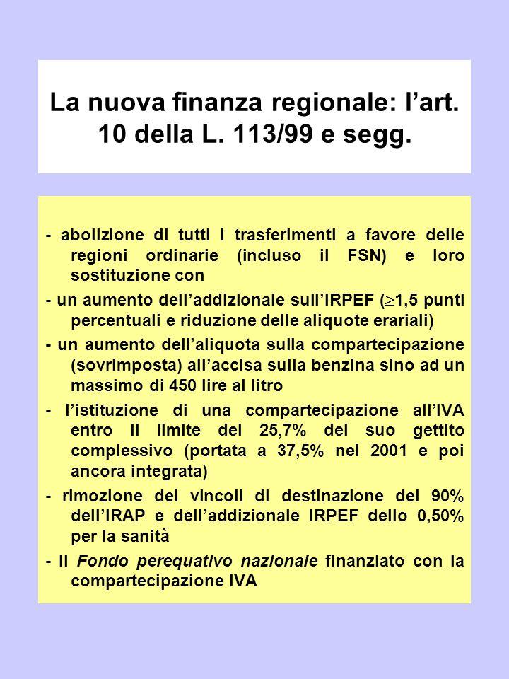 La nuova finanza regionale: l'art. 10 della L. 113/99 e segg.