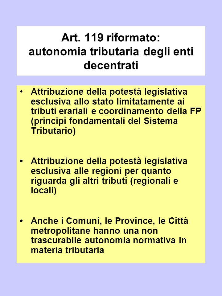 Art. 119 riformato: autonomia tributaria degli enti decentrati