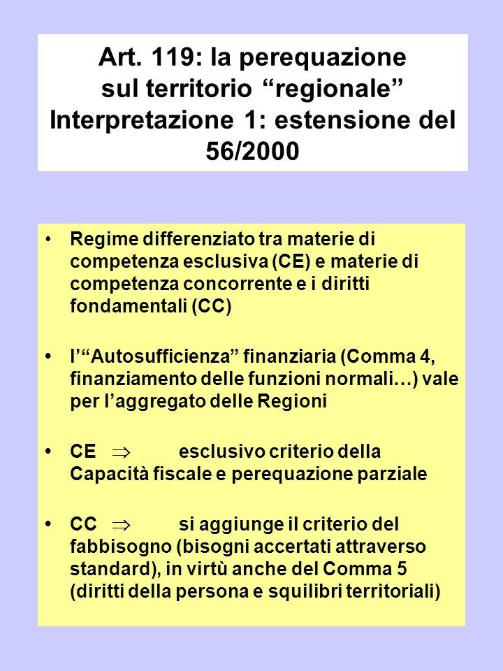 Art. 119: la perequazione sul territorio regionale Interpretazione 1: estensione del 56/2000
