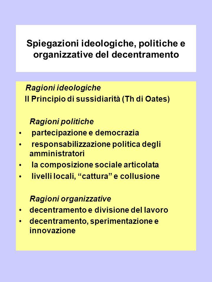 Spiegazioni ideologiche, politiche e organizzative del decentramento