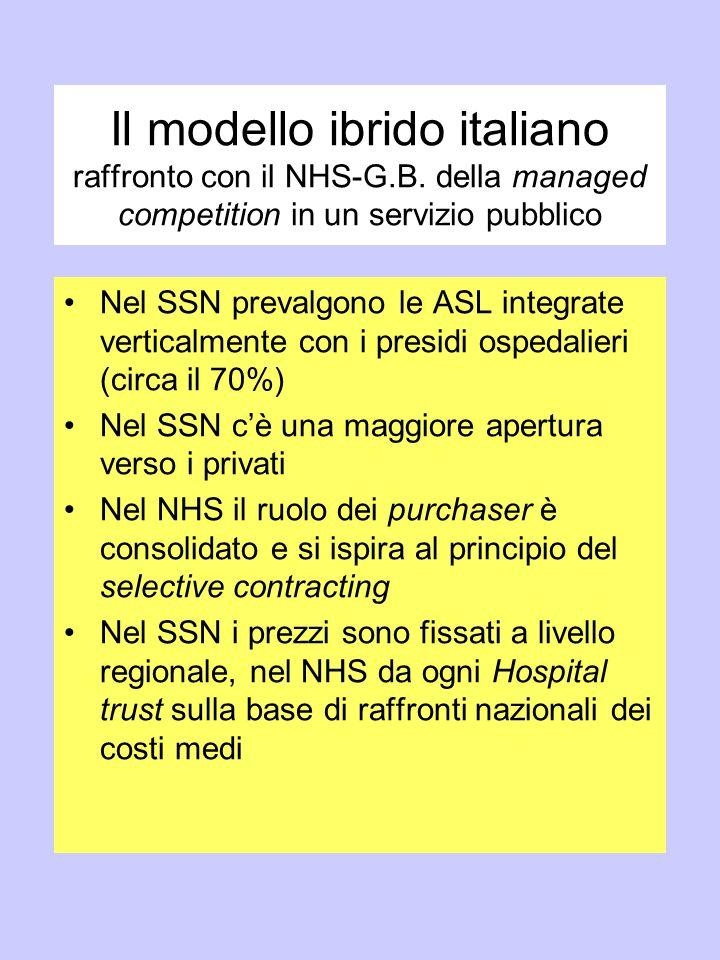 Il modello ibrido italiano raffronto con il NHS-G. B