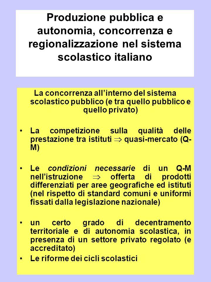 Produzione pubblica e autonomia, concorrenza e regionalizzazione nel sistema scolastico italiano
