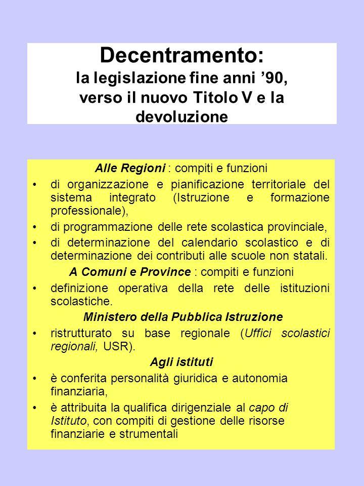 Decentramento: la legislazione fine anni '90, verso il nuovo Titolo V e la devoluzione