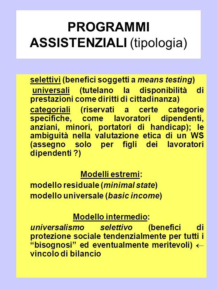 PROGRAMMI ASSISTENZIALI (tipologia)
