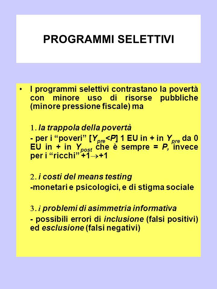 PROGRAMMI SELETTIVI I programmi selettivi contrastano la povertà con minore uso di risorse pubbliche (minore pressione fiscale) ma.
