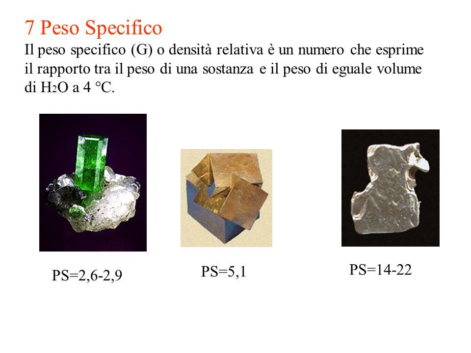 7 Peso Specifico Il peso specifico (G) o densità relativa è un numero che esprime.