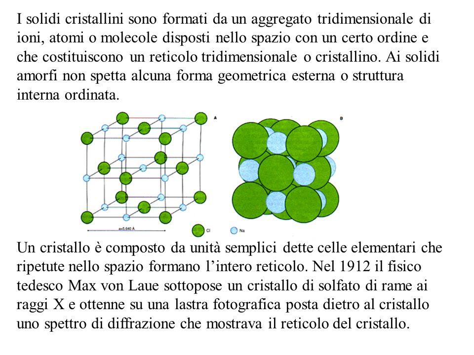 I solidi cristallini sono formati da un aggregato tridimensionale di ioni, atomi o molecole disposti nello spazio con un certo ordine e che costituiscono un reticolo tridimensionale o cristallino. Ai solidi amorfi non spetta alcuna forma geometrica esterna o struttura interna ordinata.