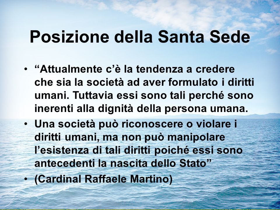 Posizione della Santa Sede