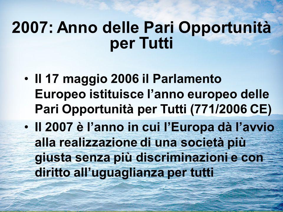 2007: Anno delle Pari Opportunità per Tutti