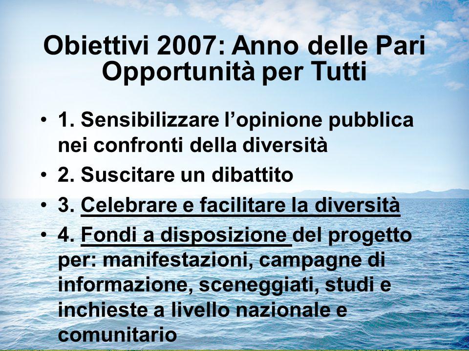 Obiettivi 2007: Anno delle Pari Opportunità per Tutti