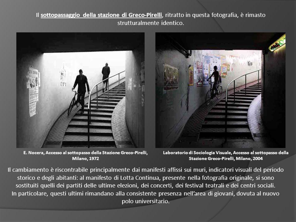 Il sottopassaggio della stazione di Greco-Pirelli, ritratto in questa fotografia, è rimasto strutturalmente identico.