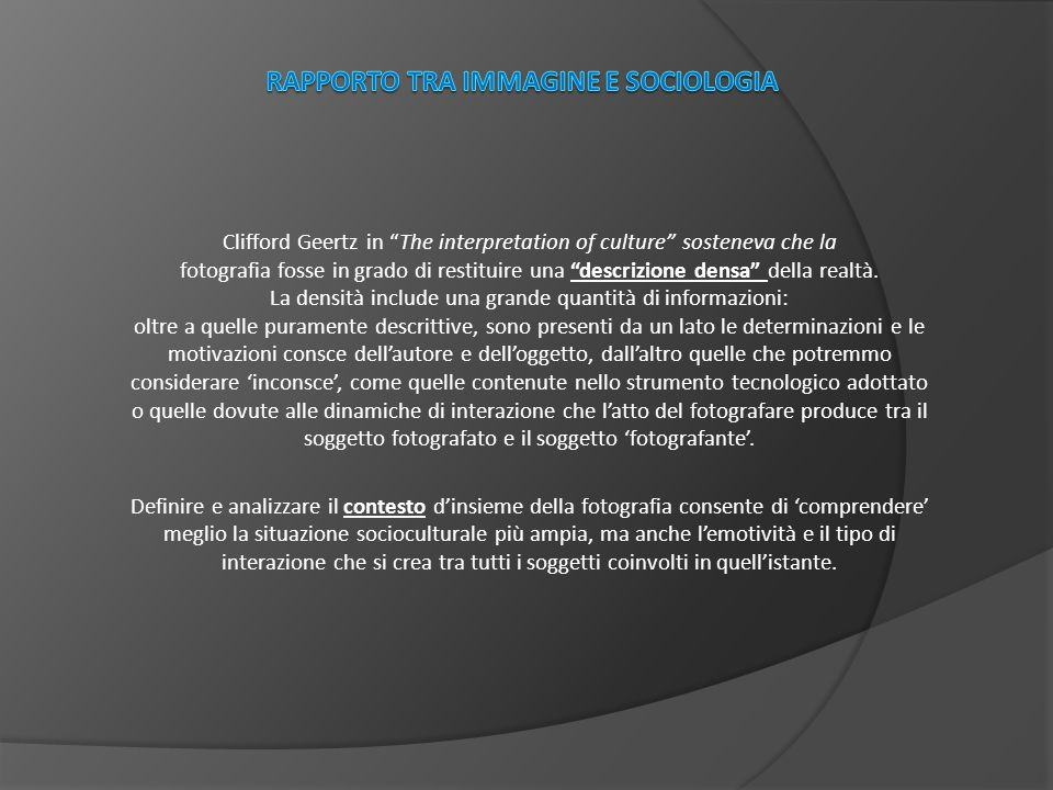Rapporto tra immagine e sociologia