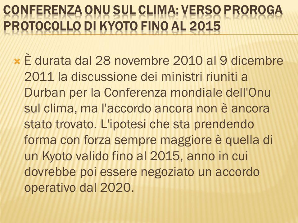 Conferenza Onu sul clima: verso proroga protocollo di Kyoto fino al 2015