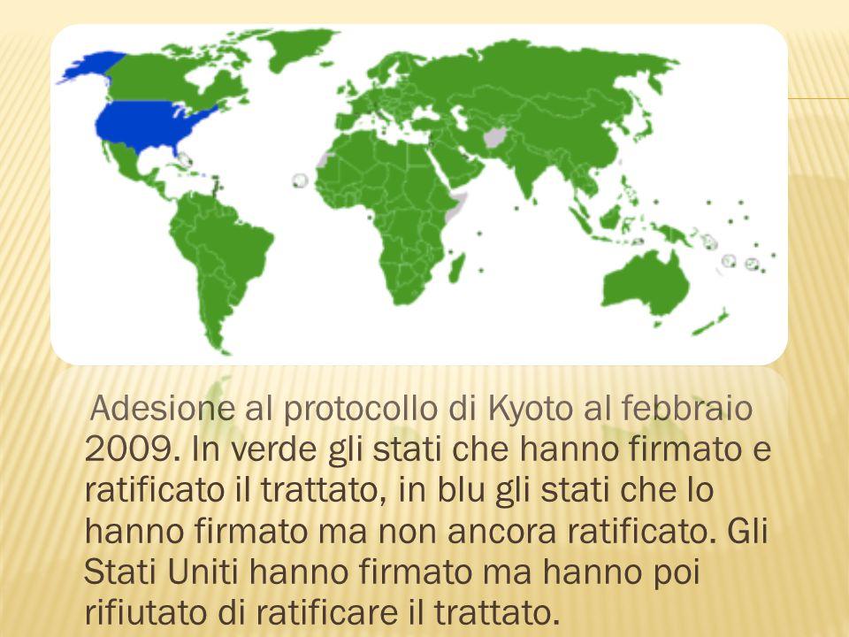Adesione al protocollo di Kyoto al febbraio 2009