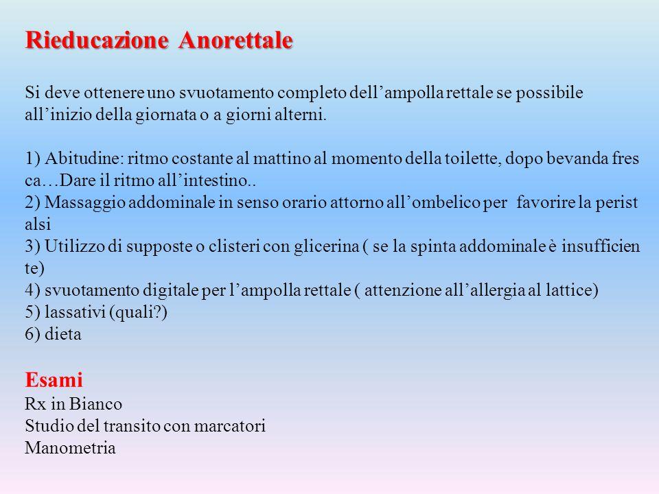 Rieducazione Anorettale Si deve ottenere uno svuotamento completo dell'ampolla rettale se possibile all'inizio della giornata o a giorni alterni.