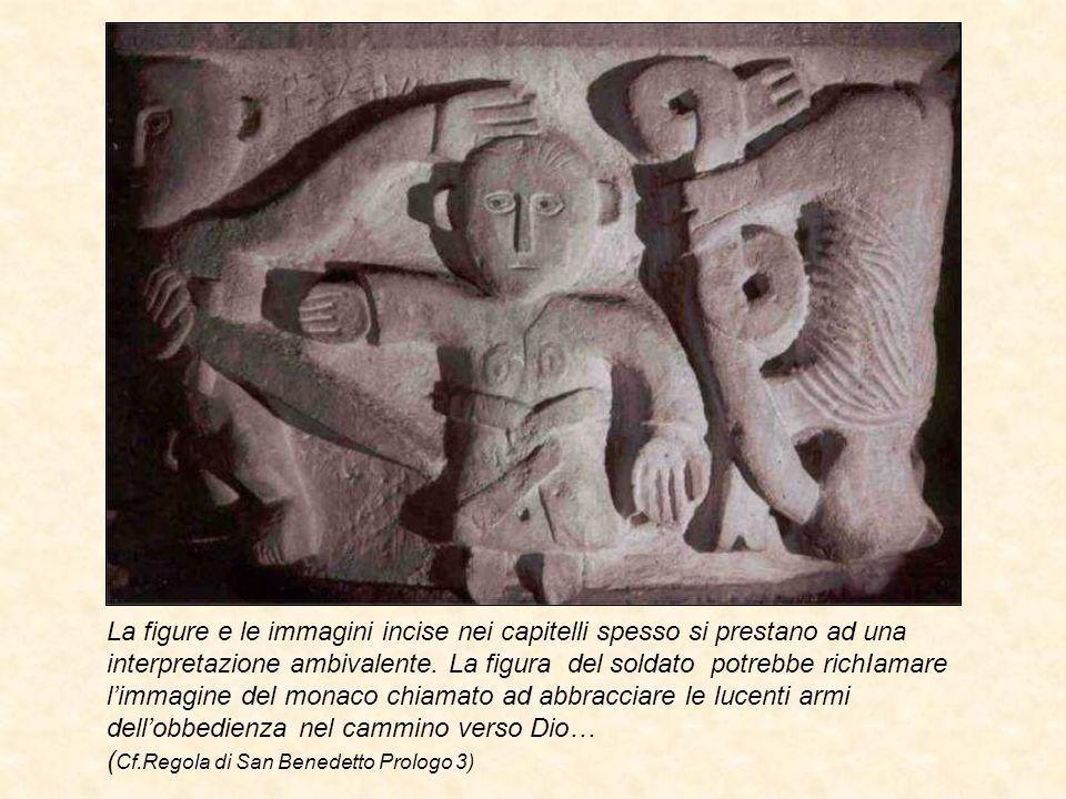 La figure e le immagini incise nei capitelli spesso si prestano ad una interpretazione ambivalente.