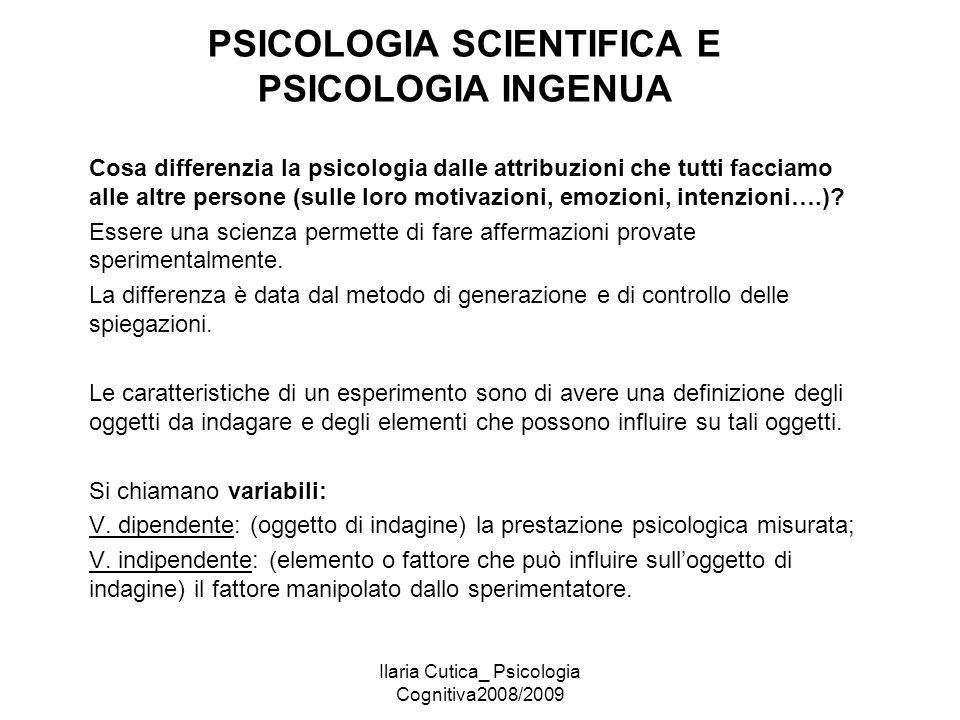 PSICOLOGIA SCIENTIFICA E PSICOLOGIA INGENUA