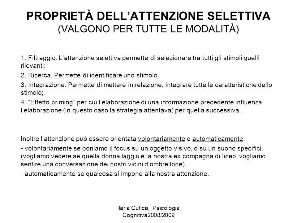 PROPRIETÀ DELL'ATTENZIONE SELETTIVA (VALGONO PER TUTTE LE MODALITÀ)